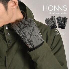 【20%OFFクーポン対象】HONNS(ホンズ) ローガン マーブル ナイロン レザー グローブ / 手袋 / スマホ対応 / メンズ / LOGAN MARBLE