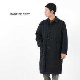 SAGE DE CRET(サージュデクレ) メルトン ステンカラー ロングコート / メンズ / ウール / 日本製 / MELTON SOUTIEN COLLAR LONG COAT