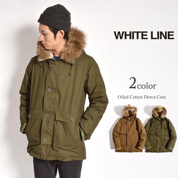【30%OFF】WHITE LINE(ホワイトライン) オイルドコットン ダウンコート / ダウンジャケット / メンズ / 日本製 / OILED COTTON DOWN COAT WLJ-1001【セール】