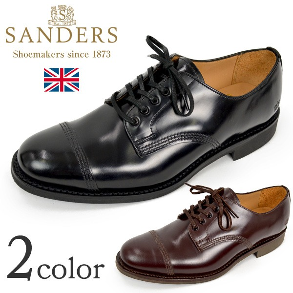 SANDERS(サンダース) #1128 ミリタリーダービーシューズ / レザーシューズ レザーブーツ ドレスシューズ / メンズ / 外羽根 ストレートチップ レースアップ / 英国製
