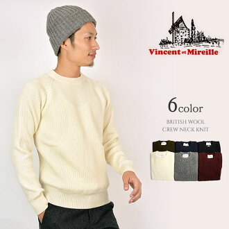Product made in VINCENT ET MIREILLE (ヴァンソンエミレイユ) crew neck knit sweater / yellowtail tissue wool / rib stitch thick knit / men / Japan