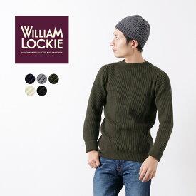【30%OFF】WILLIAM LOCKIE(ウイリアムロッキー) メリノウール リブニット クルー セーター / 両畔編み / メンズ / スコットランド製【セール】