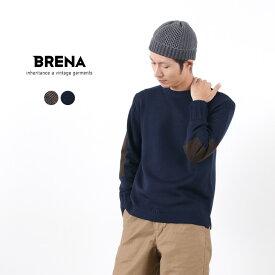 【50%OFF】BRENA(ブレナ) クルーネックニット メリノウール / メンズ / ガンジーセーター / エルボーパッチ / 日本製 / PECHEUR【セール】