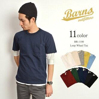 BARNS(巴恩斯)懸挂製造印度rupuuirukurunekkupoketto T恤/美國棉/人/短袖素色/日本製造/BR-1100
