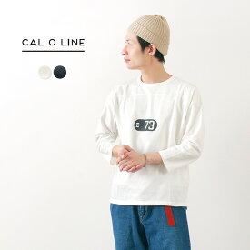 "CAL O LINE(キャルオーライン) ""E 73"" メッシュ フットボール Tシャツ / 7分袖 / メンズ / プリント / クルーネック / 日本製 / pl3"