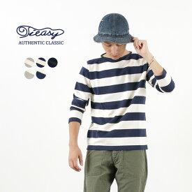【まとめ買いで10%OFF】TIEASY(ティージー) HDCS オーガニック ボートネック ボーダー バスクシャツ 長袖 / コットン Tシャツ / メンズ/ 日本製