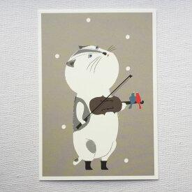 Susumu Fujimoto 藤本 将 Aiken Drum エイキンドラム ポストカード ネコ バイオリン 小鳥