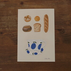nishishuku 西淑 ポストカード 青い実のカップとパン