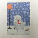 Yoko Matsumoto マツモトヨーコ ポストカード クリスマス ヒイラギの柄のソファ 雪の結晶の壁紙 フロアライト 赤い靴下 スリッパ