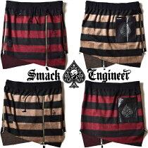 SMACKENGINEER/スマックエンジニア「SHAGGYBORDERSKIRTS」男女兼用スカーツスカート巻きスカートスカルドクロスペードウエストゴム黒赤ブラックレッドベージュメンズレディースROCKPUNKロックパンクギフトラッピング無料ステージ衣装Rogia
