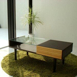 ガラスセンターテーブル 幅110cm リビングテーブル ソファテーブル ガラステーブル 強化ガラス ディスプレイ 引出し付き スライドレール 引き出し前板アルダー無垢材 ウレタン塗装 オープ