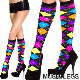MusicLegs(ミュージックレッグ) アクリルネオンアーガイルデザイン ハイソックス ML5308 靴下 蛍光色 派手柄 ダンス衣装 コスチューム コスプレ レディース A474