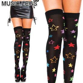 MusicLegs(ミュージックレッグス) 星柄サイハイソックス ML4228 靴下 ブラック ニーハイタイツ スター柄 黒 マルチカラー ダンス衣装 オーバーニーソックス レディース 個性的 A898