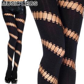 MusicLegs(ミュージックレッグス)斜めストライプ楕円形くりぬき オペークタイツ/ストッキング ML7267 ブラック 黒 穴あき 穴開き ダンス衣装 レディース A899