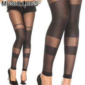 MusicLegs(ミュージックレッグス)シアー×オペーク切替 スパンデックスレギンスストッキング ML35011 黒 ブラック タイツレギンス パンスト パーティー ダンス衣装 発表会 スパッツ A901