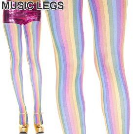 MusicLegs(ミュージックレッグス)レインボーストライプパンティストッキング/タイツ ML679 ダンス衣装 派手 カラータイツ コスチューム 発表会 パーティー カラフル 虹色 A907