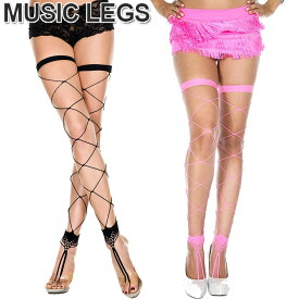 069ab1d5b77ff MusicLegs(ミュージックレッグス)トゥーリング ビッグダイアモンドネットフットレスストッキング タイツ ML4800 ブラック