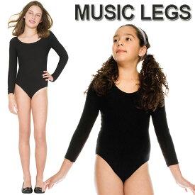 ベビー&キッズ用(1才〜11才用)バレエ&ダンス衣装のインナーに MusicLegs(ミュージックレッグス)ガールズボディスーツ/レオタード ML240 ブラック キッズダンサー クロ 黒 子供 子ども ステージ衣装 発表会 9A6-9A8