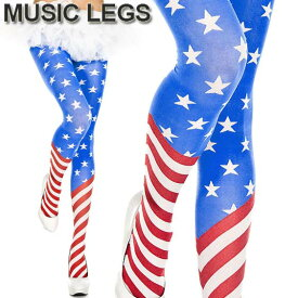 MusicLegs(ミュージックレッグ)アメリカンフラッグタイツ/ストッキング ML7069 アメリカ国旗 星条旗 派手 ハロウィン コスチューム ダンス衣装 パンティストッキング パンスト ステージ衣装 星柄 ストライプ 赤 青 白 イベント衣装 ライブ A999