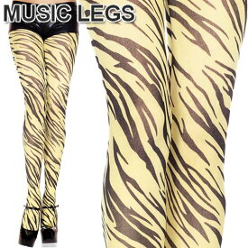 MusicLegs(ミュージックレッグス)イエローゼブラプリントオペークタイツ/ストッキング ML676 シマウマ柄 アニマル柄 パンスト ダンス衣装 総柄 ステージ衣装 Bガール レディース パンティストッキング コスプレ コスチューム A1086
