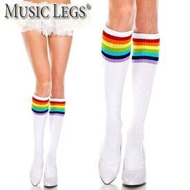 MusicLegs(ミュージックレッグス) レインボーライン入りアクリルハイソックス ML5866 靴下 派手 チアガール コスチューム コスプレ ダンス衣装 レディース A1138 メール便不可