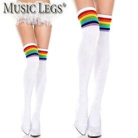 MusicLegs(ミュージックレッグス) レインボーライン入りアクリルサイハイソックス ML4866 ニーハイソックス オーバーニーソックス 靴下 派手 チアガール コスチューム コスプレ ダンス衣装 レディース A1139 メール便不可