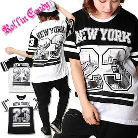 大きいサイズ☆NEW YORKモノトーン配色Tシャツ 黒白 ブラック ホワイト ニューヨーク ガールズヒップホップ ダンス衣装 B系 HIPHOP キッズダンサー XLサイズ LLサイズ レディース ダボダボTシャツ メンズ キッズダンス DANCE トップス C343-C344