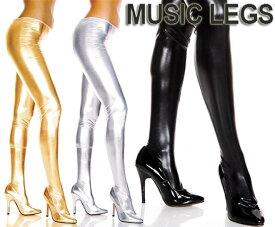MusicLegs(ミュージックレッグ) ウェットルックストッキング/タイツ ML36112 ゴールド シルバー ブラック 黒 ボンテージ 女王様 メタリック パンスト ダンス衣装 ダンサー フェティッシュファッション レディース Mサイズ Lサイズ セクシー A500-A502
