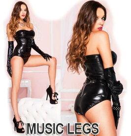 MusicLegs(ミュージックレッグ)ウェットルックストラップレステディ/レオタード ML80004 ブラック メタリック エナメル ボンテージ 女王様 衣装 SサイズMサイズLサイズ 大きいサイズ コスチューム コスプレ バニーガール フェティッシュファッション A505-A507
