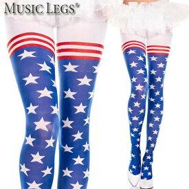 MusicLegs(ミュージックレッグ)アメリカンフラッグタイツ/ストッキング ML7068 アメリカ国旗 星条旗 派手 ハロウィン コスチューム ダンス衣装 パンティストッキング パンスト ステージ衣装 星柄 ストライプ 赤 青 白 イベント衣装 ライブ A1444