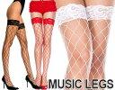 【メール便3点まで270円】MusicLegs(ミュージックレッグス) ビッグダイアモンドネット レーストップサイハイストッキング/網タイツ ML4925 黒 白 赤 ブラック ホワイト レッド ニーハイ レディース パーティー フォーマル 64a-66a