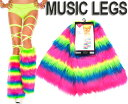MusicLegs(ミュージックレッグ) 蛍光ファーレッグウォーマー【ネオンレインボー】 5541 コスプレ ダンス GOGOダンサー…