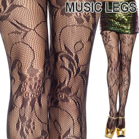 MusicLegs(ミュージックレッグス) フローラルブーケストッキング/タイツ ML50036 黒 ブラック パンティストッキング パンスト レディース 花柄 フォーマル エレガント a28