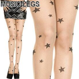 【メール便2点まで270円】MusicLegs(ミュージックレッグス)星柄プリントシアーストッキング/タイツ ML7097 スター柄 ベージュ ブラック パンスト 総柄 レディース ダンス衣装 A832