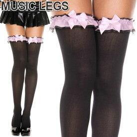 MusicLegs(ミュージックレッグス)ラッフル×サテンリボン オペークサイハイストッキング/タイツ ML4778 黒 ピンク パンスト ニーハイ レディース ブラック オーバーニーソックス A839