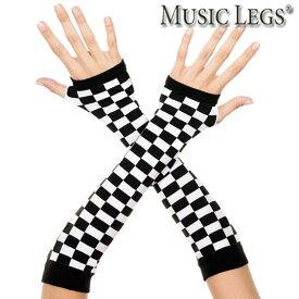 MusicLegs(ミュージックレッグス)チェッカーフラッグ柄アームウォーマー ML494 アームグローブ(両手セット) モノトーン モノクロ ブラック ホワイト 黒白 白黒 コスプレ ダンス 衣装 コスチューム レースクイーン 仮装 ハロウィン ステージ A1175