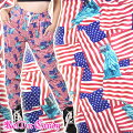 アメリカ国旗×ラジカセ&自由の女神柄ロングパンツB105