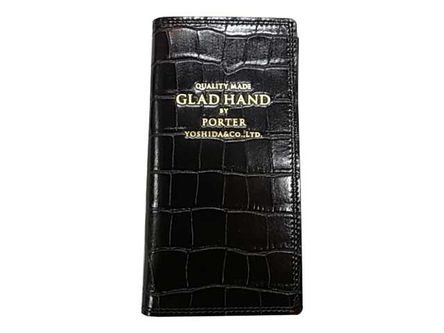 POTER ポーター × GLAD HAND グラッドハンド GH-PARCEL iPhone8ケース CROCOLIKE BLACK ブラック ダイヤリータイプ 手帳タイプ GLADHAND BY POTER YOSHIDA & Co., LTD. 日本製