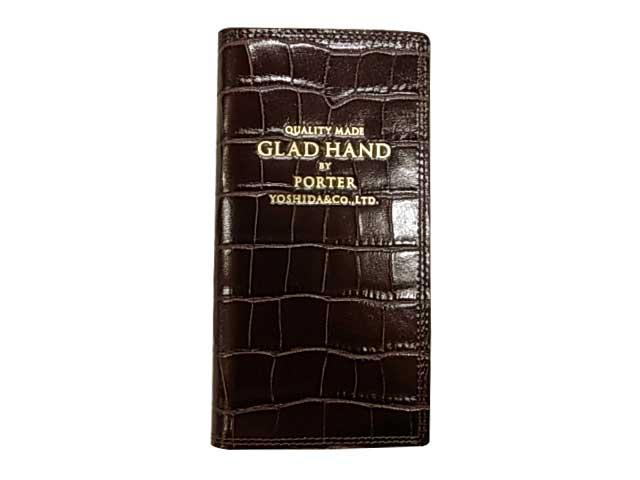 POTER ポーター × GLAD HAND グラッドハンド GH-PARCEL iPhone8ケース CROCOLIKE BROWN ブラウン ダイヤリータイプ 手帳タイプ GLADHAND BY POTER YOSHIDA & Co., LTD. 日本製