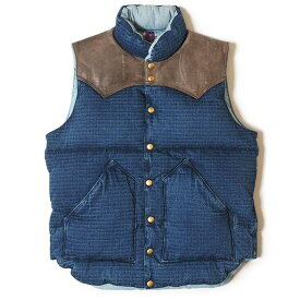 ★SALE 20%OFF★ WAREHOUSE ウエアハウス × Rocky Mountain Feather Bed ロッキー マウンテン Lot 2123 INDIGO RIP STOP DOWN VEST USED WASH インディゴ ダウンベスト ユーズドウォッシュ コラボレーション ダブルネーム