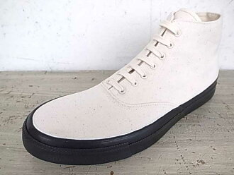 ANATOMICA anatomika WAKOUWA DECK SHOES HIGH CUT CANVAS NATURAL/BLACK wakuwadekkishuzuhaikattokyambasunachuraru/黑色
