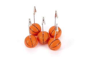 バスケットボール 型 メモクリップ 5個セット RFIDケース付 メモホルダー メモスタンド カード立て 【送料無料】mak-a06