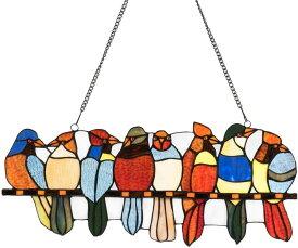 西洋ステンドグラス ティファニースタイル/ガラス製ウィンドウ・パネル/ 八羽の鳥/ ウィンドウ・ハンギングパネル プレゼント(輸入品)