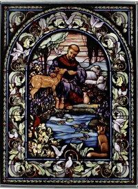 アッシジのフランチェスコ 聖フランシスコ/ステンドグラス/アートガラス/カトリック教会(輸入品)窓 リビング(輸入品