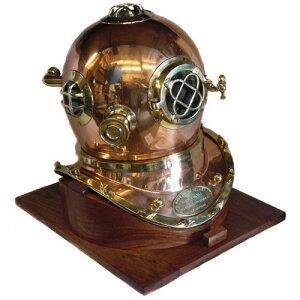フルサイズ アメリカ海軍 マークV 銅製ダイビングヘルメット レプリカと木製ベース/ 潜水士 ボートハウス ビーチカフェ プレゼント(輸入品