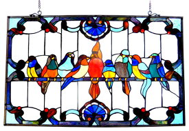クロエ・ライティング製 ティファニーガラス風 鳥が集まる、ウィンドウパネル ステンドグラス(輸入品)