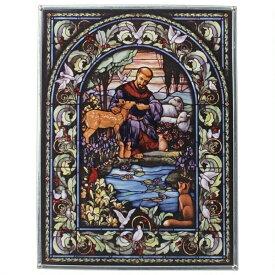 西洋ステンドヅラス 動物達の守護聖人 聖フランチェスコ(聖フランシスコ)アートガラス(ステンドグラス) 彫像 彫刻/ プレゼント(輸入品)