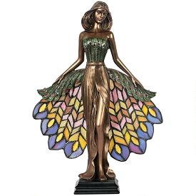 孔雀の巫女 台座彫刻 ティファニースタイルのステンドグラス照明置物 彫像(輸入品)