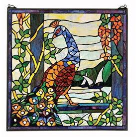 ステンドグラスのパネル - ピーコック(孔雀)ガーデンステンドグラスの窓 - ウィンドウのトリートメント彫像/新築祝い プレゼント(輸入品
