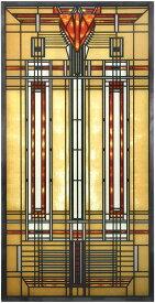 YTC製 カラフルな矢印とストライプのデザイン/スクエア・FLW・ブラッドリー・ハウス・スカイライト ステンドグラス 彫像 彫刻(輸入品)
